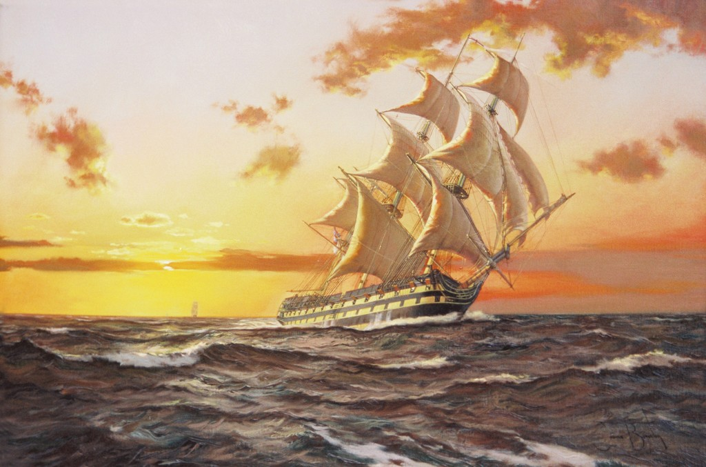 Корабль в море картинки красками