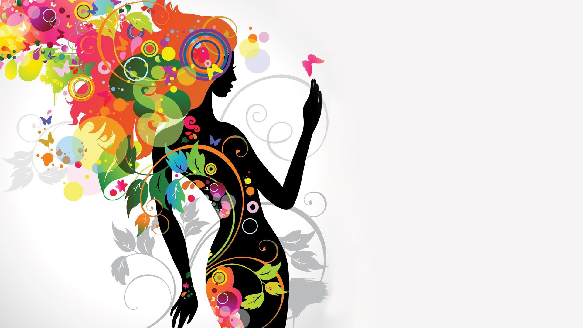 графика абстракция девушка цветы graphics abstraction girl flowers  № 2062437 загрузить