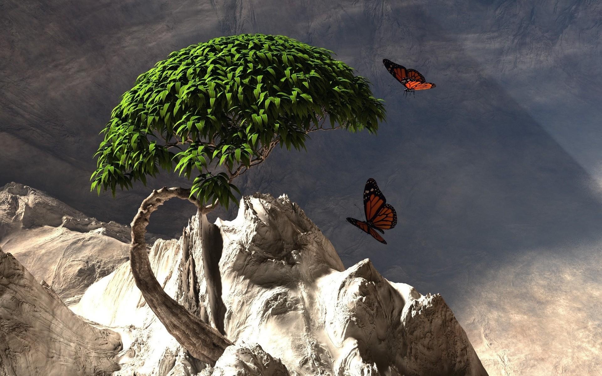 Дерево, бабочки, озерцо скачать