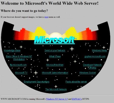 Microsoft воссоздала веб-сайт 1994 года