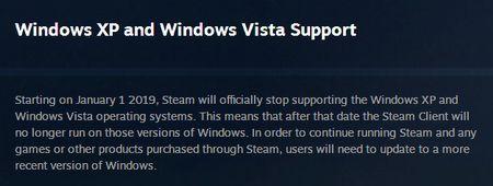 Steam прекращает поддержку XP и Vista